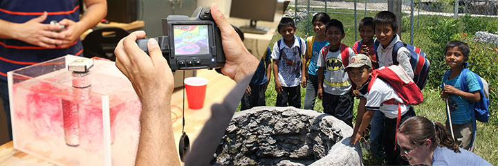 Image of researchers in the lab & image of young students around a well in the Yucatan