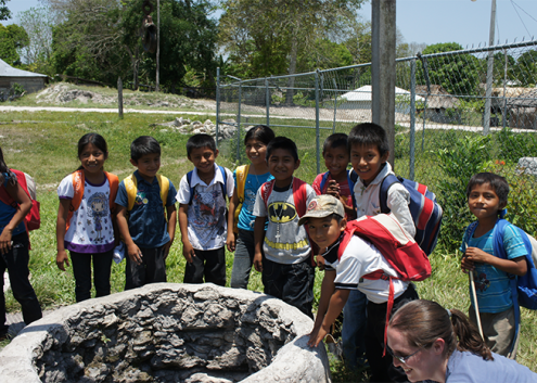 Young Children around a well in the Yucatan Peninsula